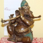 Ganesh 14cm with Flute Brass with Green $80