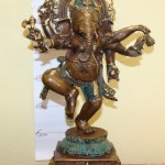 Ganesh 33cm Dancing Brass with Green $250